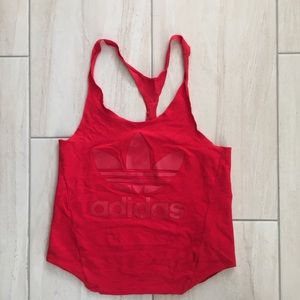 Adidas red logo printed Racerback top size small